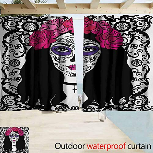 AndyTours Outdoor Blackout Curtains,Sugar Skull Girl with Sugar
