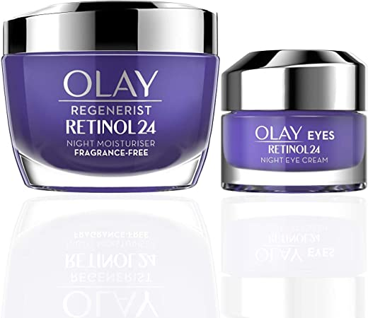 Olay Regenerist Favourites Set, Retinol 24 Night Face Moisturiser and Eye Cream Moisturiser with Retinol and Vitamin B3