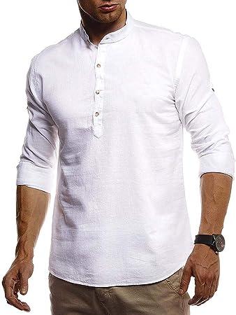 jfhrfged Camisas de Hombre Camisas de Lino de Manga Larga con ...