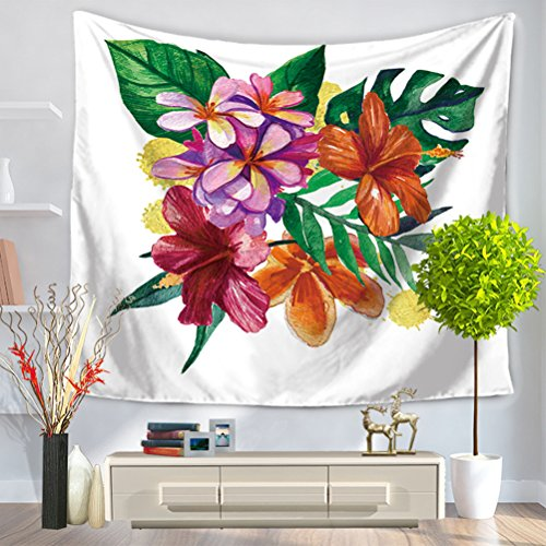 LANGUGU Floral Tapestry,Tropical Exotic Palm Tree Leaves Natural Botanical Spring Summer Contemporary Graphic,59 W X 51 L Inches?Wall Hanging for Bedroom Living Room ()