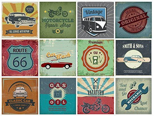 BRIKETO Motors Retro Vintage Car Decorative Tile Stickers Set 12 Units 6x6 inches. Peel & Stick Tile Stickers. Home Decor. Furniture Decor. Wall Decor. Backsplash Adhesive Tile Stickers.