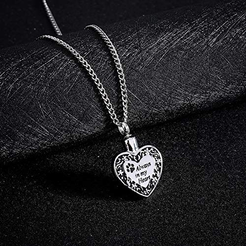 Oillian Women Personality Retro Always in My Heart Dog Footprint Ashes Memorial Necklace Gift for Teens Friends Boy Lady Girl (A)