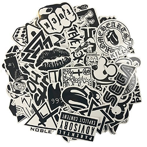 hite Vinyl Sticker Graffiti Decal Perfect to Laptops, Skateboards, Luggage, Cars, Bumpers, Bikes, Motorcycle, Helmet, Window, Guitar, Snowboard, Cellphone ()