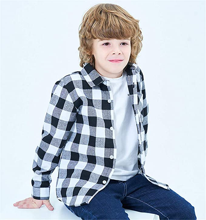 Betusline Boys Short Sleeve Plaid Shirt
