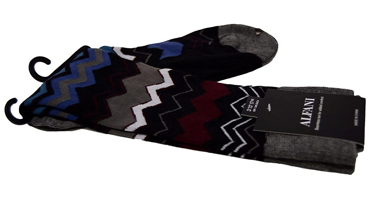 Alfani Mens Heather Grey Chevron Stripe Casual Dress Socks 7-13