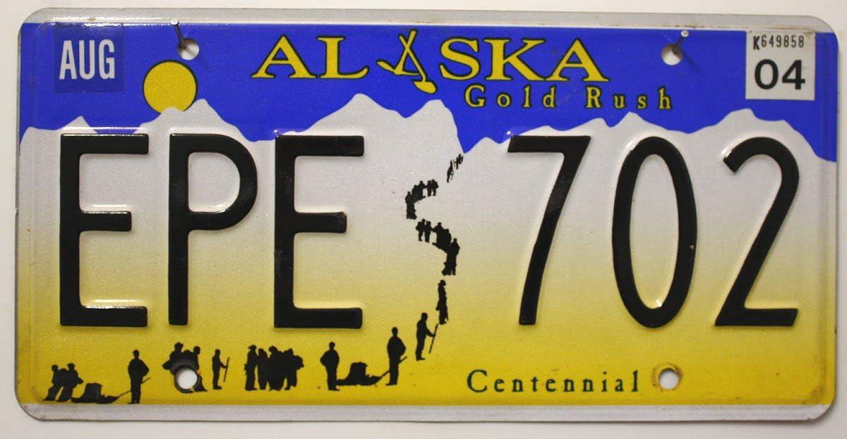 Usa Auswahl Von Fahrzeugschildern Original Alaska Nummernschild Usa Kennzeichen Us License Plate Metallschild Auto