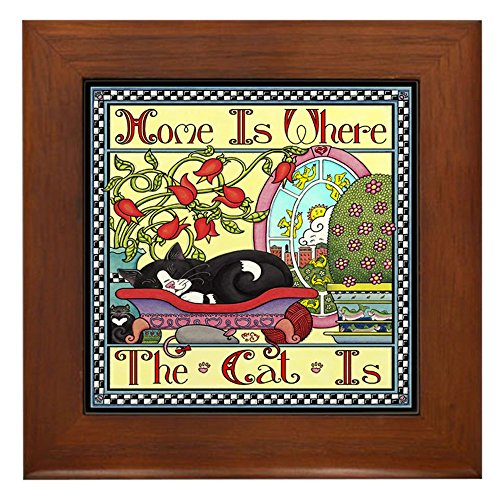 (CafePress Home is Where The Cat is Framed Tile, Decorative Tile Wall Hanging)