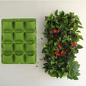 NNEWSP 12 Pockets Green Waterproof Hanging Vertical Garden Wall Planter Plant Grow Bag for Yard Garden Home Balcony Office Decoration