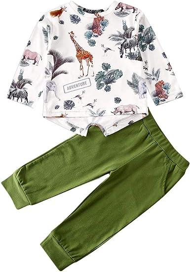Baby Kids Toddler Printed Shirt Long Sleeve Tops+pants Sleepwear Casual Outfits