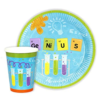Mad Science / Geek Party Paper Plates and Cups for 24 GUESTS  sc 1 st  Amazon UK & Mad Science / Geek Party Paper Plates and Cups for 24 GUESTS: Amazon ...