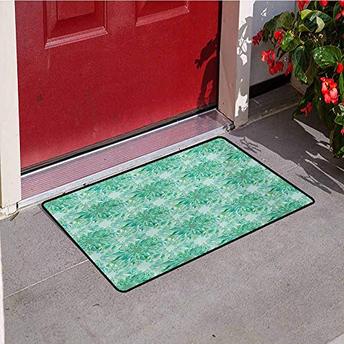 Jinguizi Turquoise Universal Door mat Floral Pattern with Beryl Crystal Guilloche Flowers Carving Art Elements Image Print Door mat Floor Decoration W47.2 x L60 Inch - Guilloche Collection