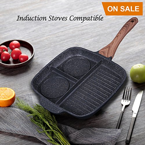 KI Stone & Ceramic Breakfast Pan 3 Section Divided Grill/Fry/Oven Meal Skillet Non-Stick Die-Casting Aluminum Cooker Pan, Induction Frying Pan, 1 Year (Ceramic Divided)