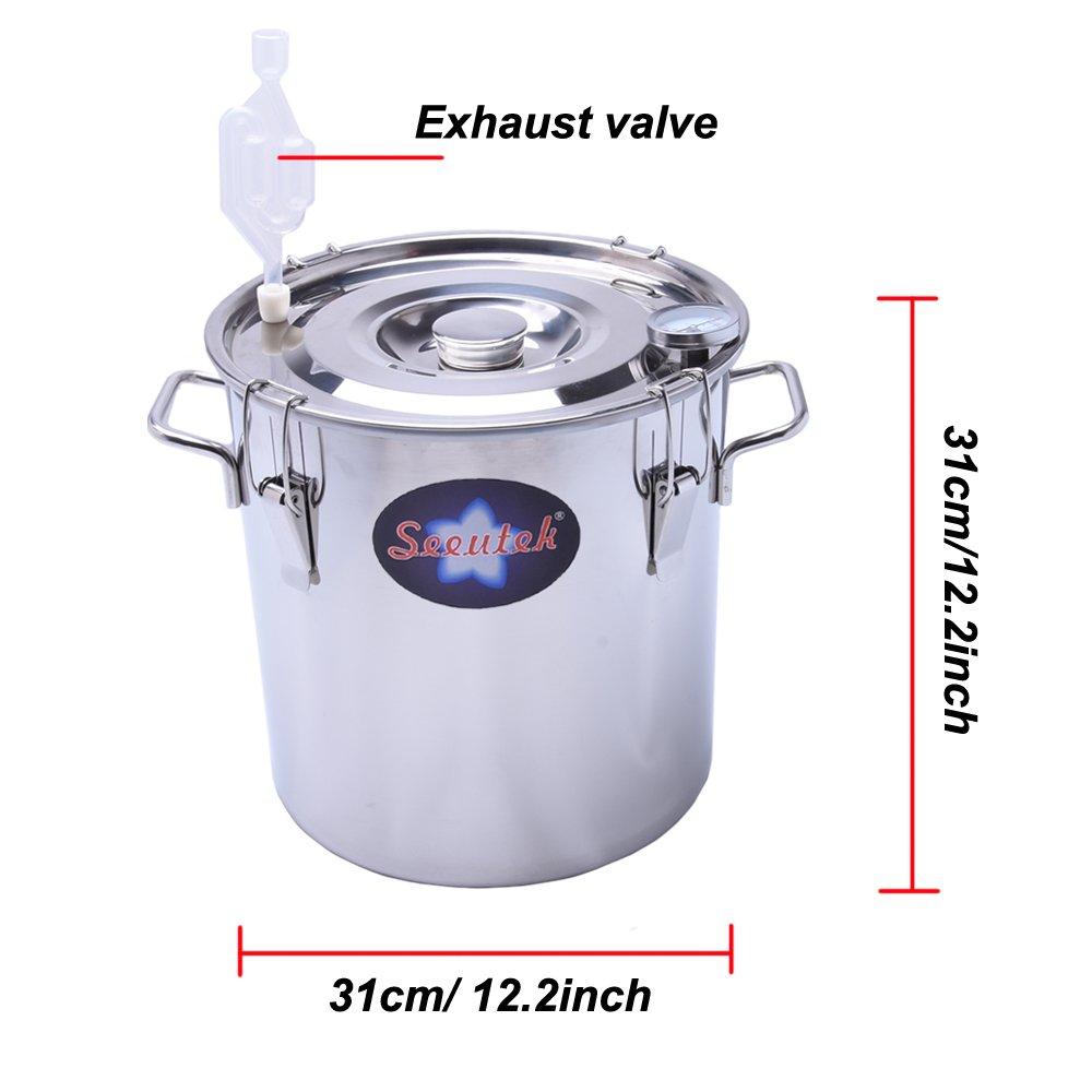 Seeutek 5 Gal 18 Litres Home Alcohol Water Distiller Copper Moonshine Still Kit Stainless Steel Spirits Boiler by Seeutek (Image #4)