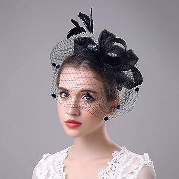 Femmes Floral plumes organza Bandeau Clip Cocktail Derby Hat