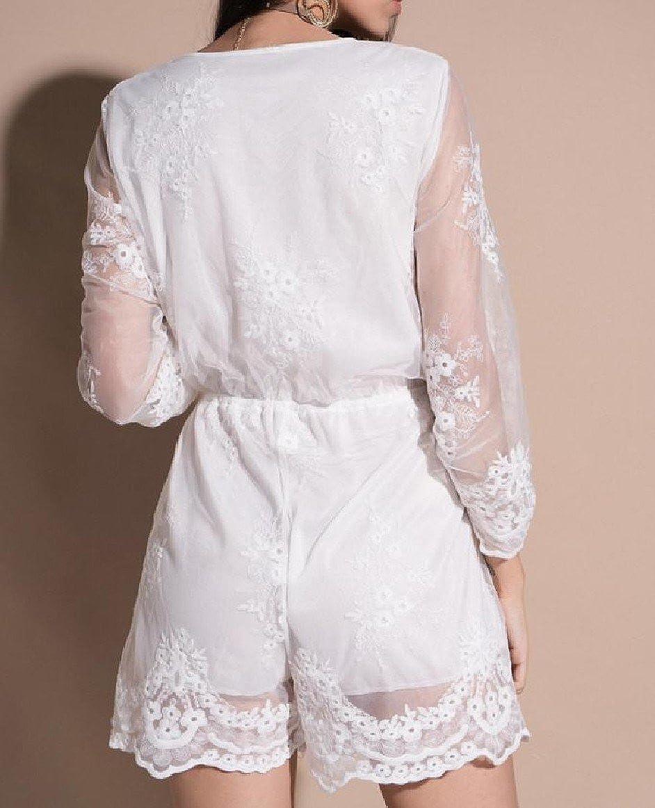 Tingwin Womens Solid Color Lace Hem Novelty Line Plunge V Neck Wash Rompers Shorts