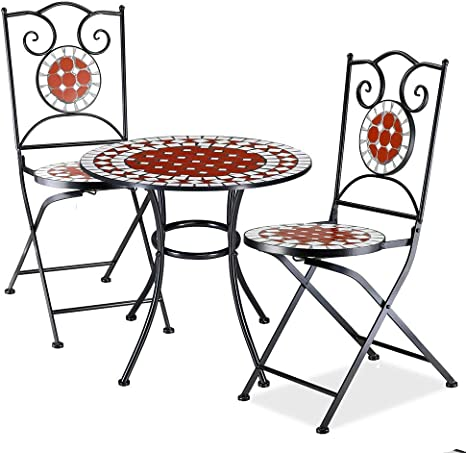 Bakaji Set Tavolo Tavolino 60 X 70 Cm 2 Sedie Pieghevoli Con Decorazione Mosaico Arredo Esterno Giardino Terrazzo Struttura In Metallo Colore Nero Decoro In Terracotta Bianco E Rosso Amazon It Giardino E Giardinaggio