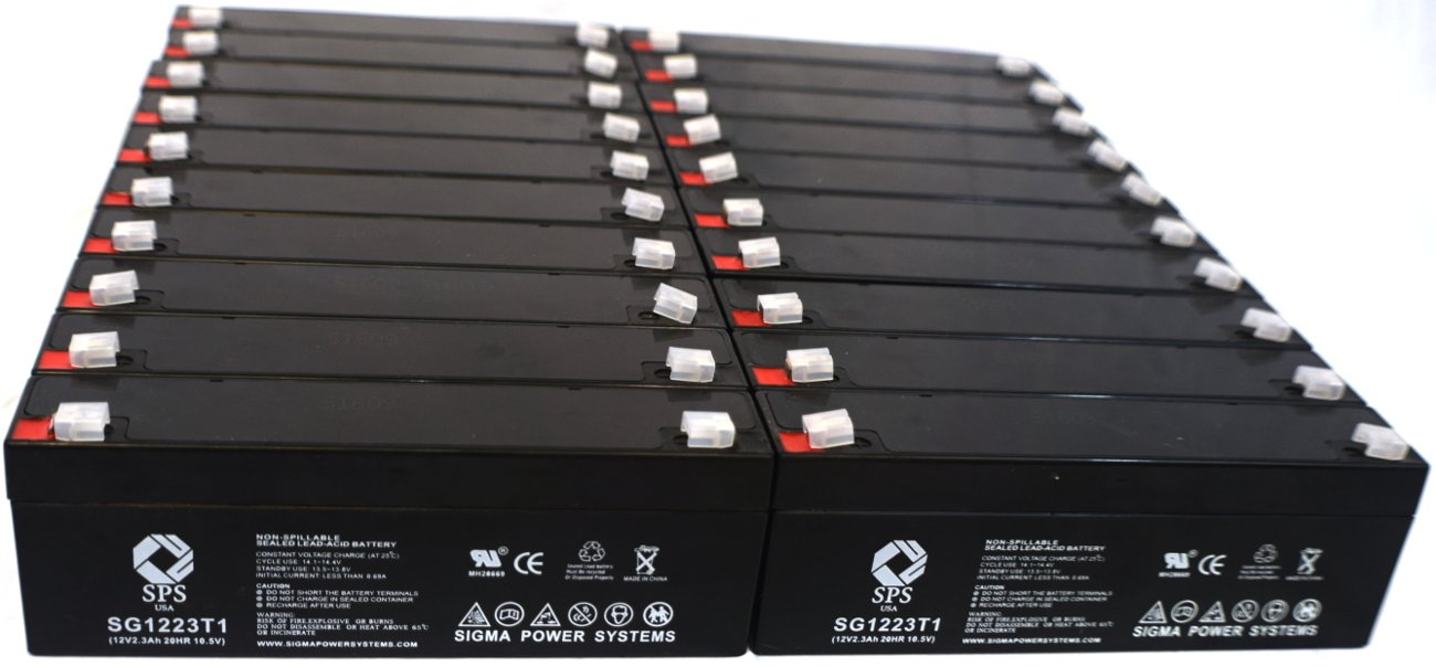 SPS Brand 12V 2.3 Ah Terminal T1 Replacement Battery for Hoyer RPA600 PATIENT LIFT ( 16 PACK)