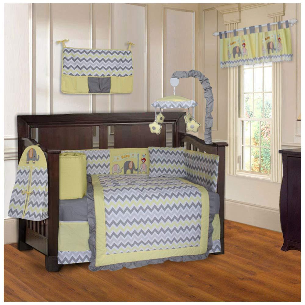 BabyFad Elephant Chevron Yellow 10 Piece Baby Crib Bedding Set