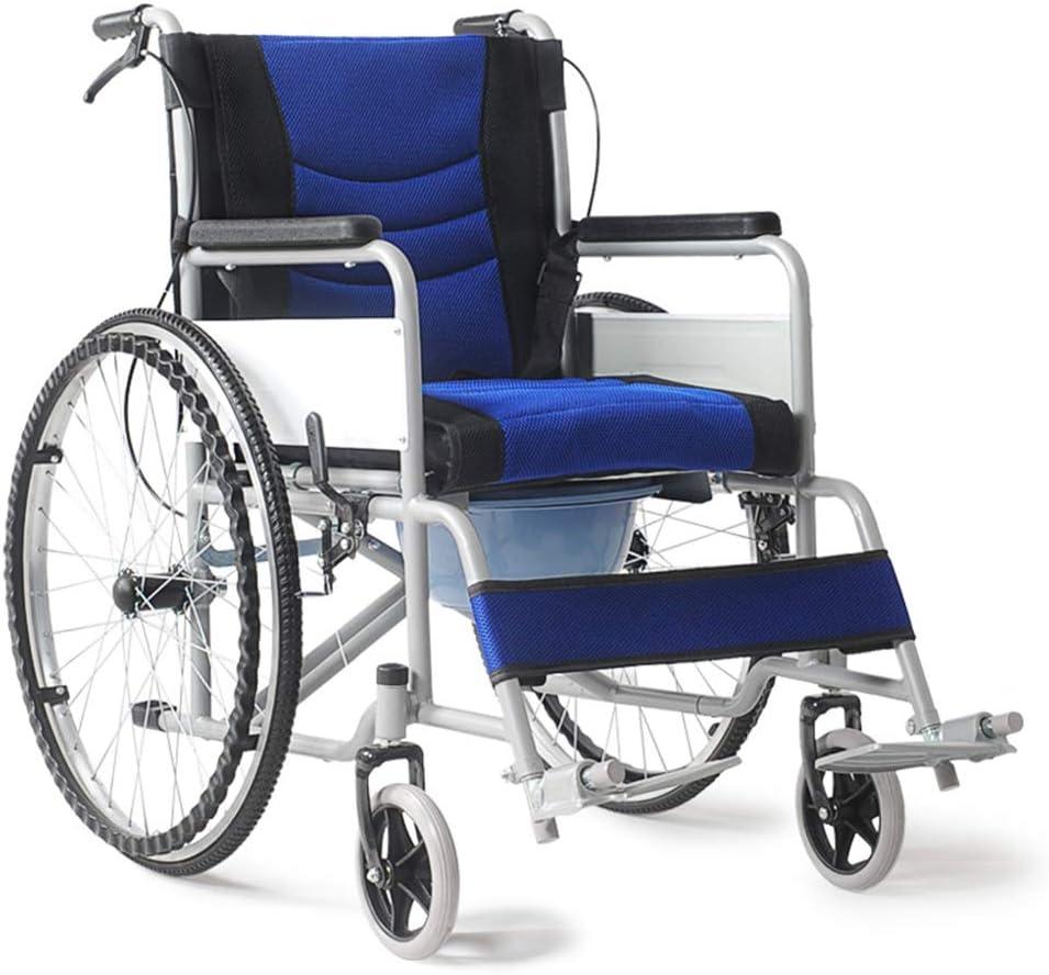 LYN&xxx Aluminio Silla de Ruedas, Plegable Ligero con IR al baño Ultra-Light de Ancianos de Edad Avanzada con Silla de Ruedas de la Carretilla de múltiples Funciones,Azul
