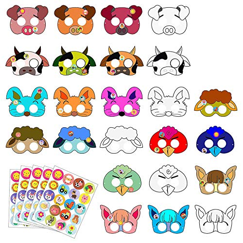 BeYumi 24 PCS DIY Farm Animal Paper Masks, Barnyard Animal Marks for Kids Birthday & Farmhouse Themed Party Favors]()
