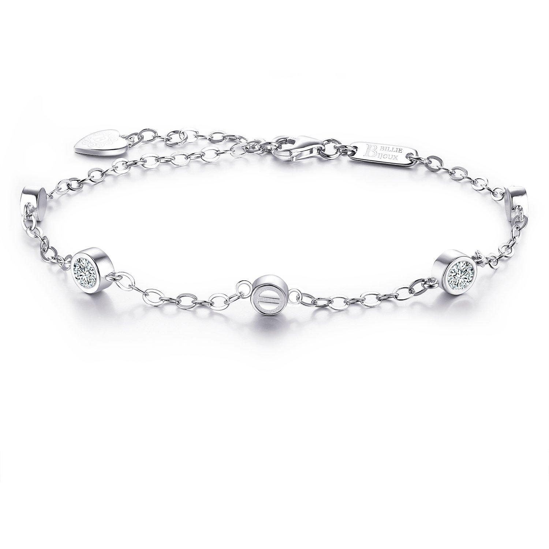 Billie Bijoux 925 Sterling Silver CZ Diamond Bracelet White Gold plated Adjustable Simple Bracelet Valentine's Day Gift for Women, Mom
