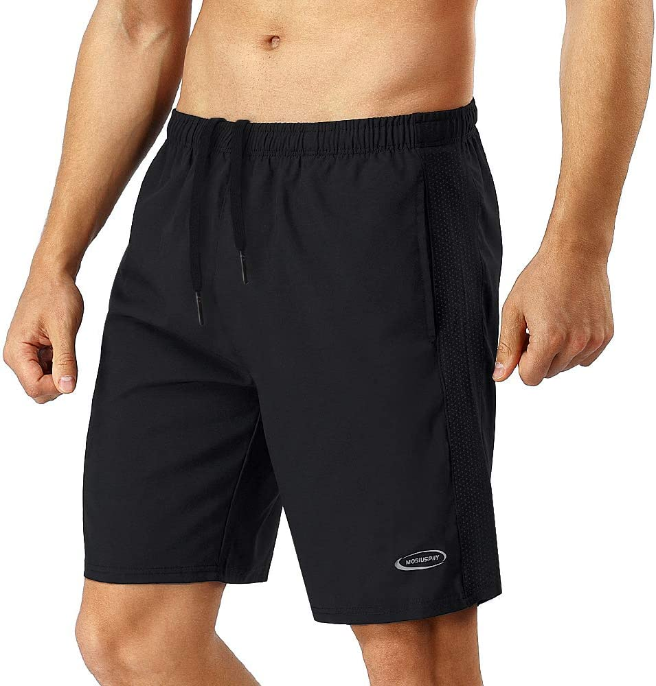 MOBIUSPHY Pantalon Corto Hombre Deporte, Pantalones Cortos Deportivo Shorts Deportivos Hombre Short Running Pantalón Corto Tenis Fitness Gym Verano Negro