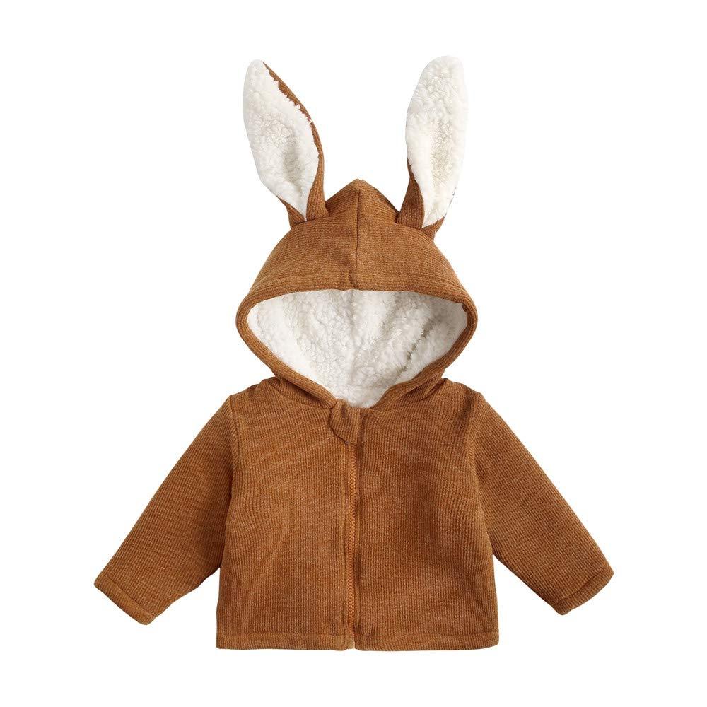 WUAI Toddler Baby Girls Autumn Winter Warm Fleece Jackets Ears Hoody Hoodie(Yellow,4-5 Years by WUAI-Baby