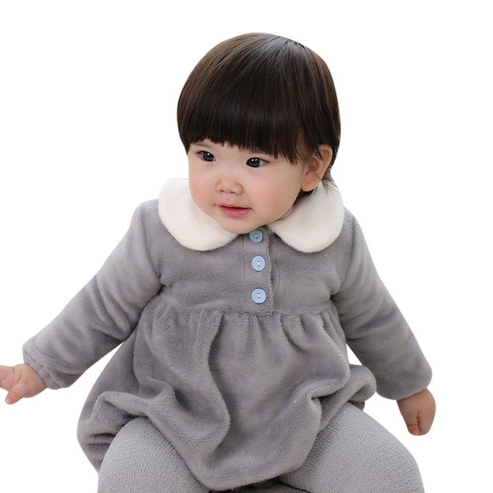 Kinlene Newborn neonata del Capretto della Peluche girano-Giù Maniche Lunghe Vestiti Pagliaccetto Tuta