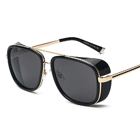 9ac9759649b U.S. CROWN Tony Stark Iron Man Steampunk Unisex Sunglasses for Men and  Women (Black)