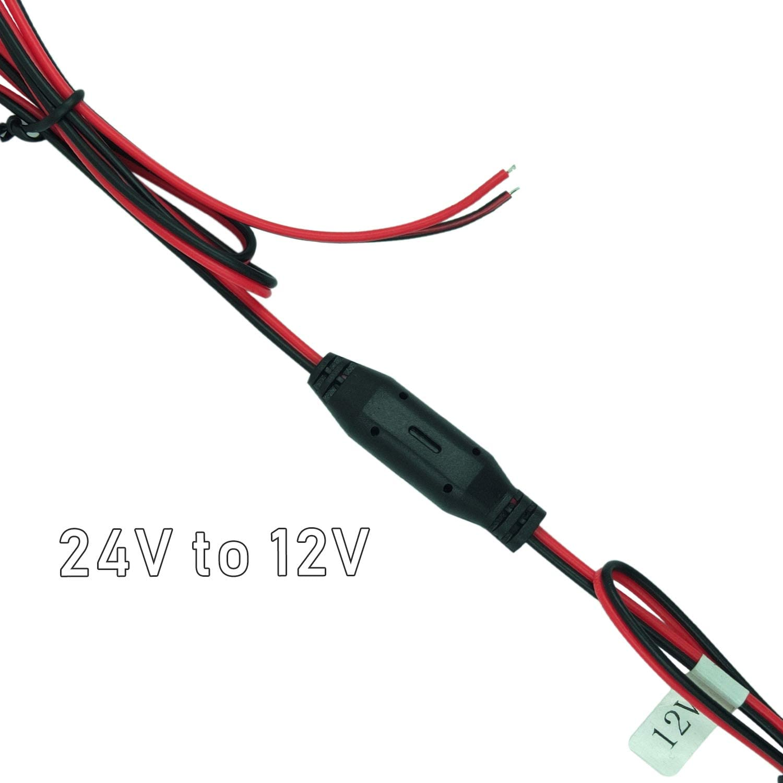 DC 24V to 12V Step Down Converter Reducer Regulator Adapter for Dash Cam Rear View Camera Backup Camera Rear Camera Hooking to 24V Reverse Light Wire