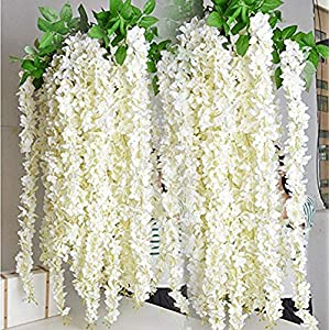 Miyaya 24 Pieces Realistic Artificial Silk Wisteria Vine Ratta Silk Hanging Flower Plant for Home Party, Wedding Decor and Other Various Events – Each White