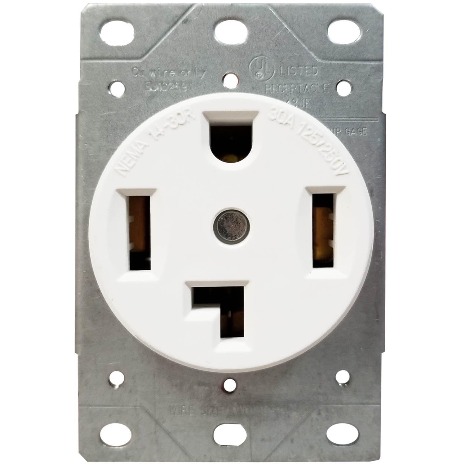 ENERLITES 30 Amp Electrical Dryer Outlet | NEMA 14-30R, Outdoor/Indoor, Flush Mount Receptacle, 3-Pole, 4 Wire, (10,8,6,4) AWG, Industrial Grade, 125/250V, 66300-W | White