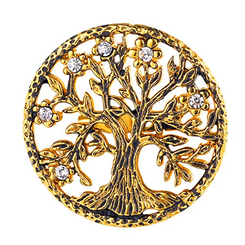 U7 Brooch Women Men 18K Gold Plated Tree of Life Design Round Lapel Stick Pin for Hat,Bag,Suit ()