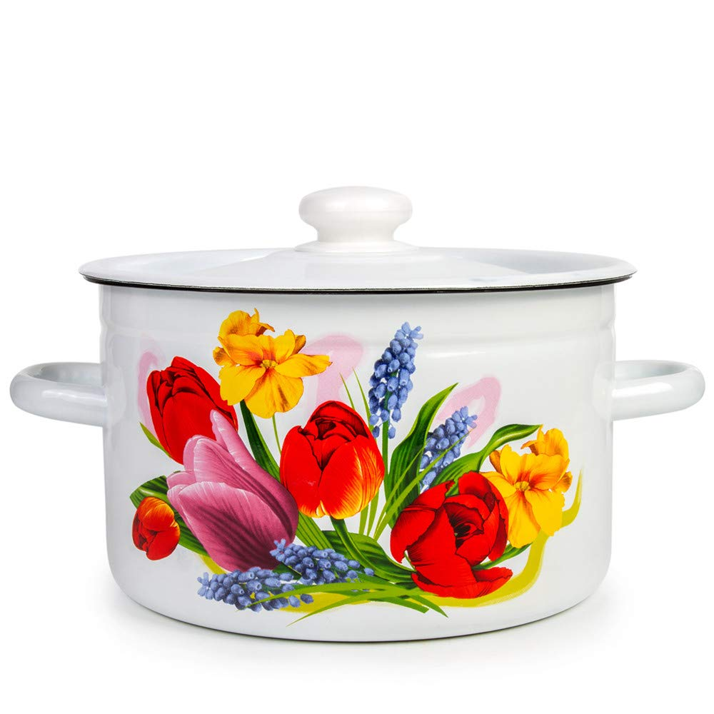 Enamel Stock Pot Spring Bouquet Enamel Cooking Pot Enameled Pot with Lid (5.8-qt. (5.5 L))