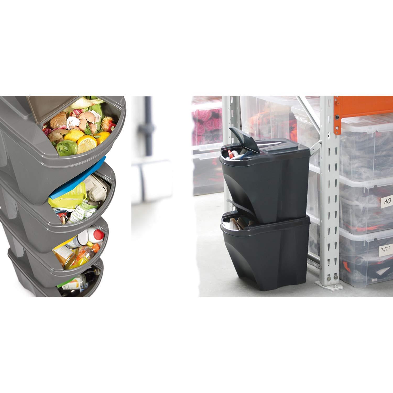 Anthrazit Prosperplast Sortibox 3x20L M/ülleimer M/ülltrennsystem Abfalleimer Beh/älter