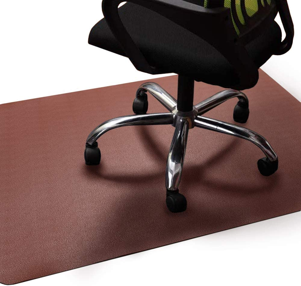 "Office Chair Mat Brown, Non-Curve Under Computer Desk Pad for Hardwood Floor and Heavy Appliance, Anti-slip 47x35x.07"" Rectangular Floor Protector, Not Suitable for Carpets"