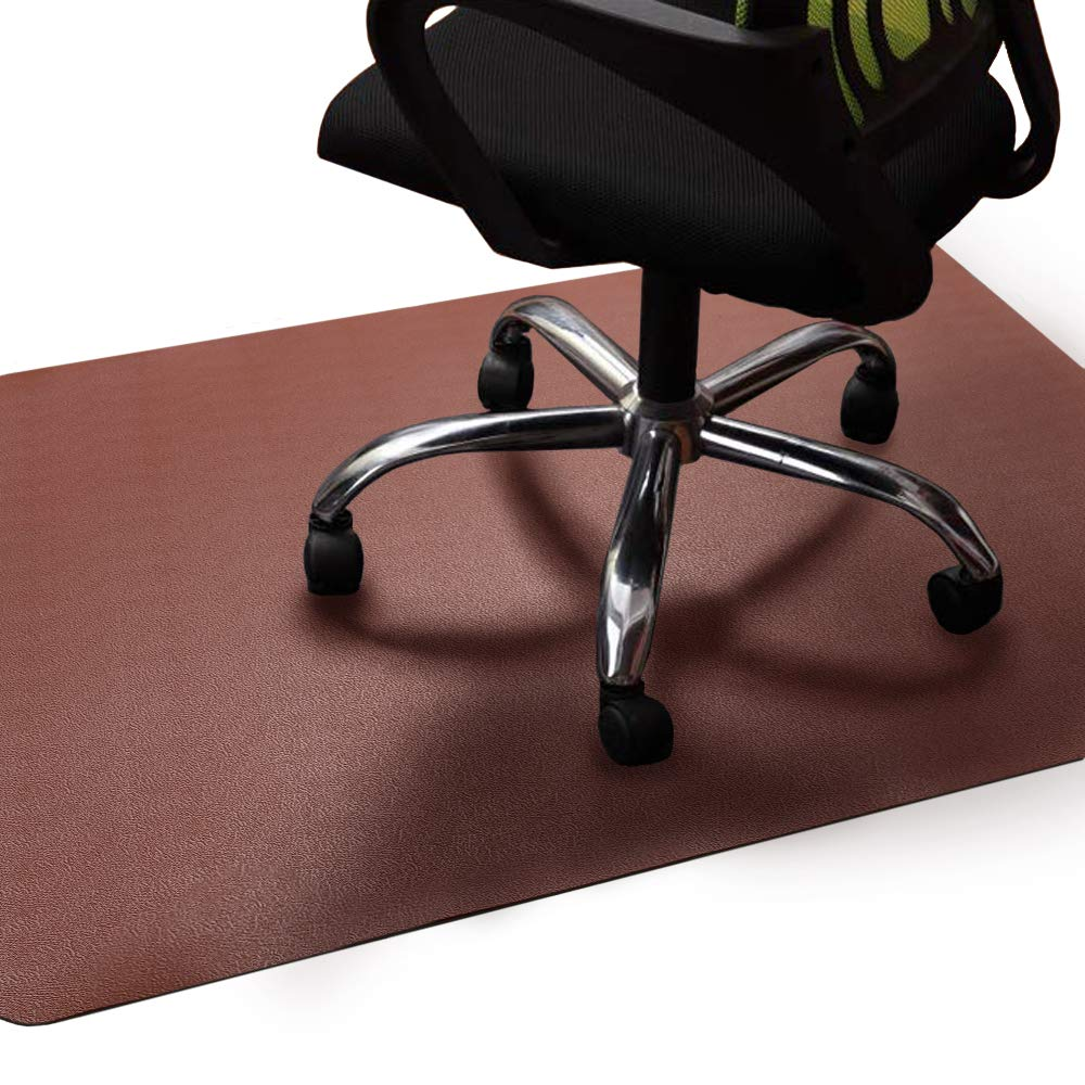 Office Chair Mat Brown, Non-Curve Under Computer Desk Pad for Hardwood Floor and Heavy Appliance, Anti-slip 47x35x.07'' Rectangular Floor Protector, Not Suitable for Carpets by Lesonic