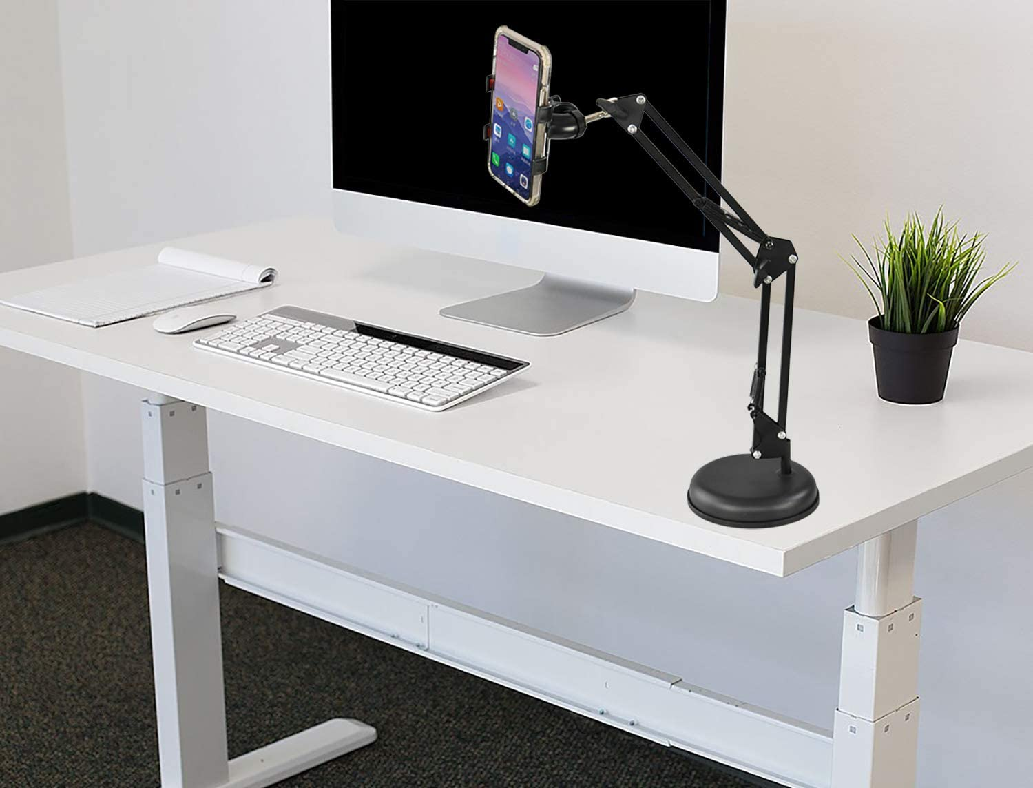 """HOME-X Desktop Telescopic Phone Stand, Adjustable Height and Weighted Base, Universal Phone Clip and Flexible 360-Degree Rotation, Black, 6"""" D adjusts from 10"""" – 24"""" H"""