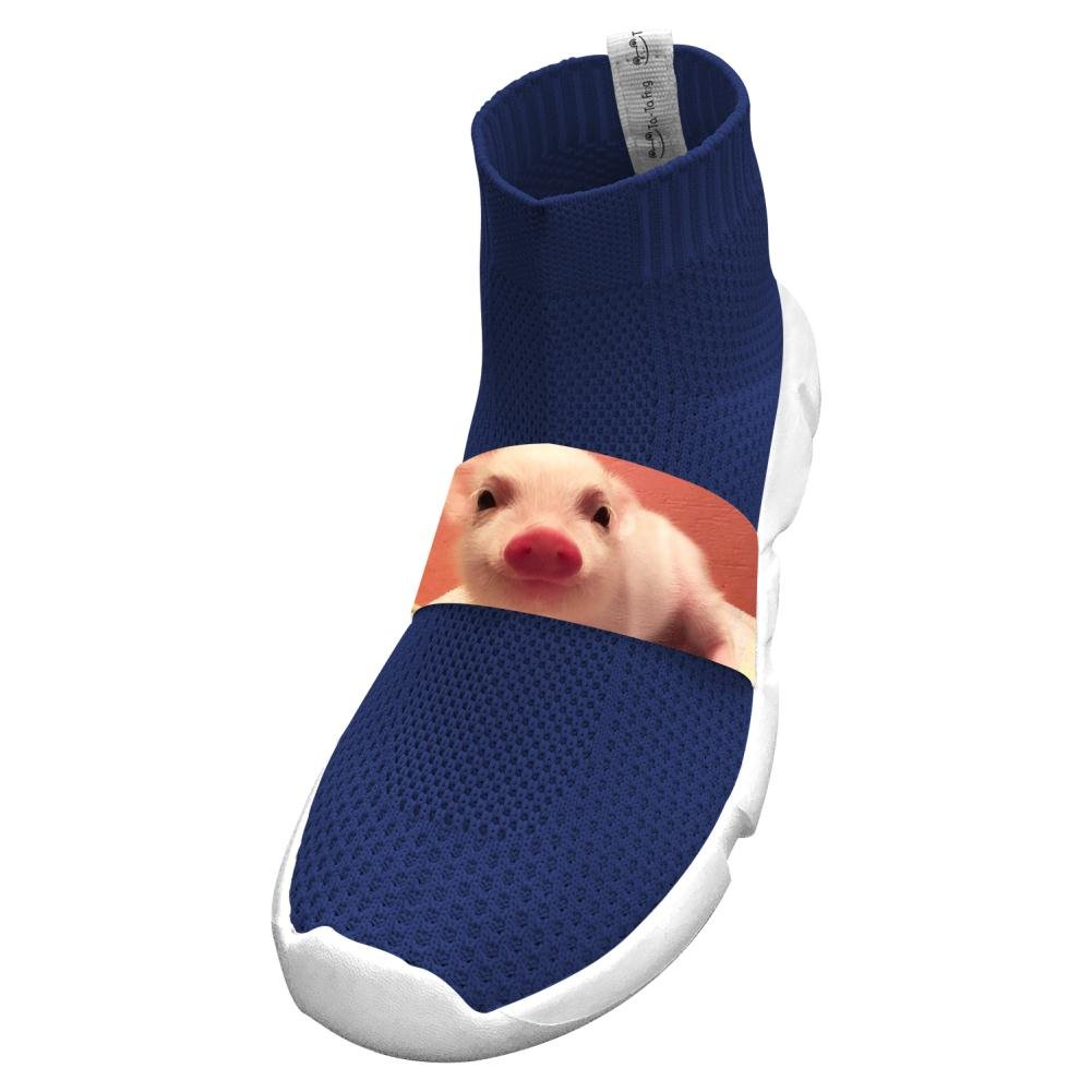 Fly Knit Lightweight Funny Pigs Sports No Tie Shoes For Youth