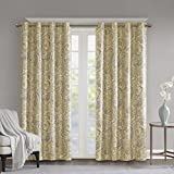 SunSmart Blackout Curtains For Bedroom, Traditional Grommet Yellow Window Curtains For Living Room Family Room, Jenelle Paisley Therma Black Out Window Curtain For Kitchen, 50X95, 1-Panel Pack