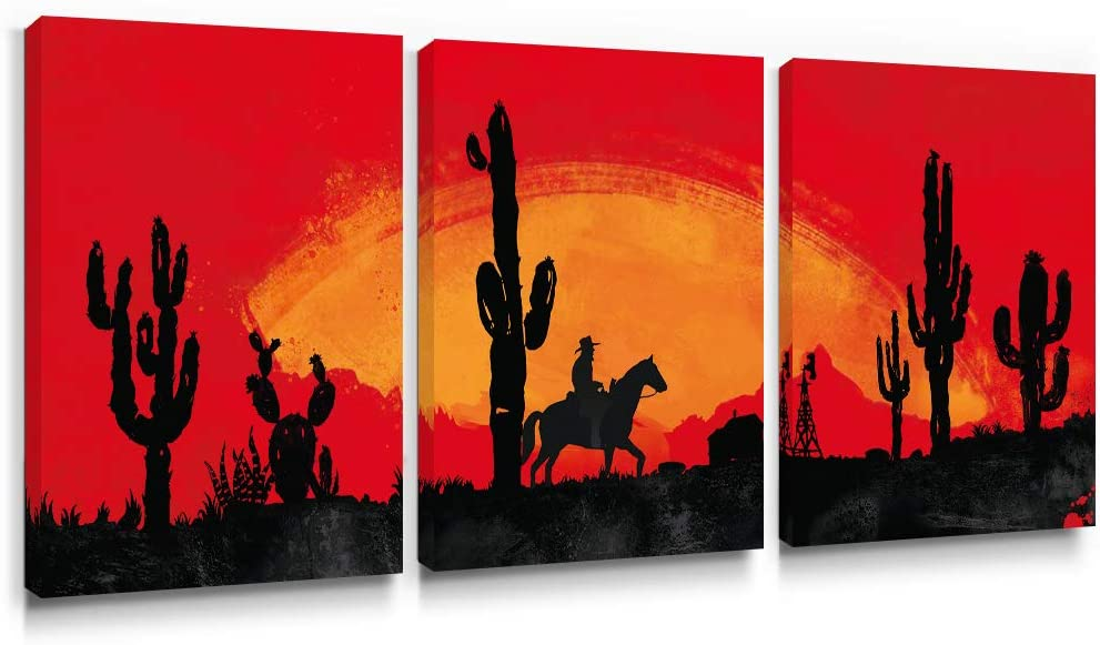 SUMGAR Red Wall Art Living Room 3 Piece Western Sunset Canvas Paintings Bedroom Black Cactus Pictures Cowboys Southwest Prints Artwork Set Desert Home Decorations,12x16 inch