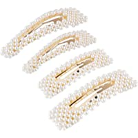 Pearls Hair Clips, Decorative Wedding Bridal Artificial Pearl Hair Pins, Hair Barrettes Styling Tools Hair Accessories for Women Ladies Girls 4 PCS (A)