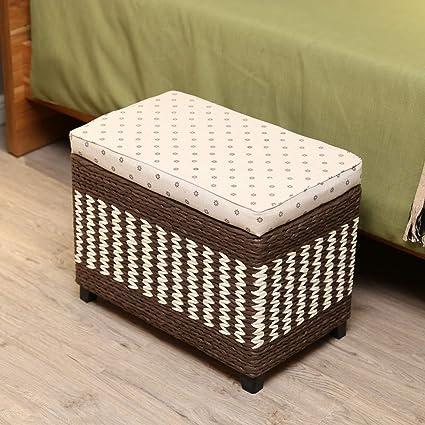Stupendous Amazon Com Ssll Japanese Style Storage Footstool Woven Lamtechconsult Wood Chair Design Ideas Lamtechconsultcom