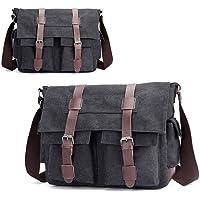 LnLyin Men's Vintage Canvas Leather Satchel School Military Shoulder Bag Messenger Bag