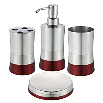 Amazoncom Stainless Steel Bath Set Soap Dispenser Toothbrush - Red toothbrush holder bathroom accessories for bathroom decor ideas