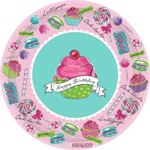 Amscan Heavenly Sweets Birthday Party Round Dessert Plates Tableware, Paper, 7