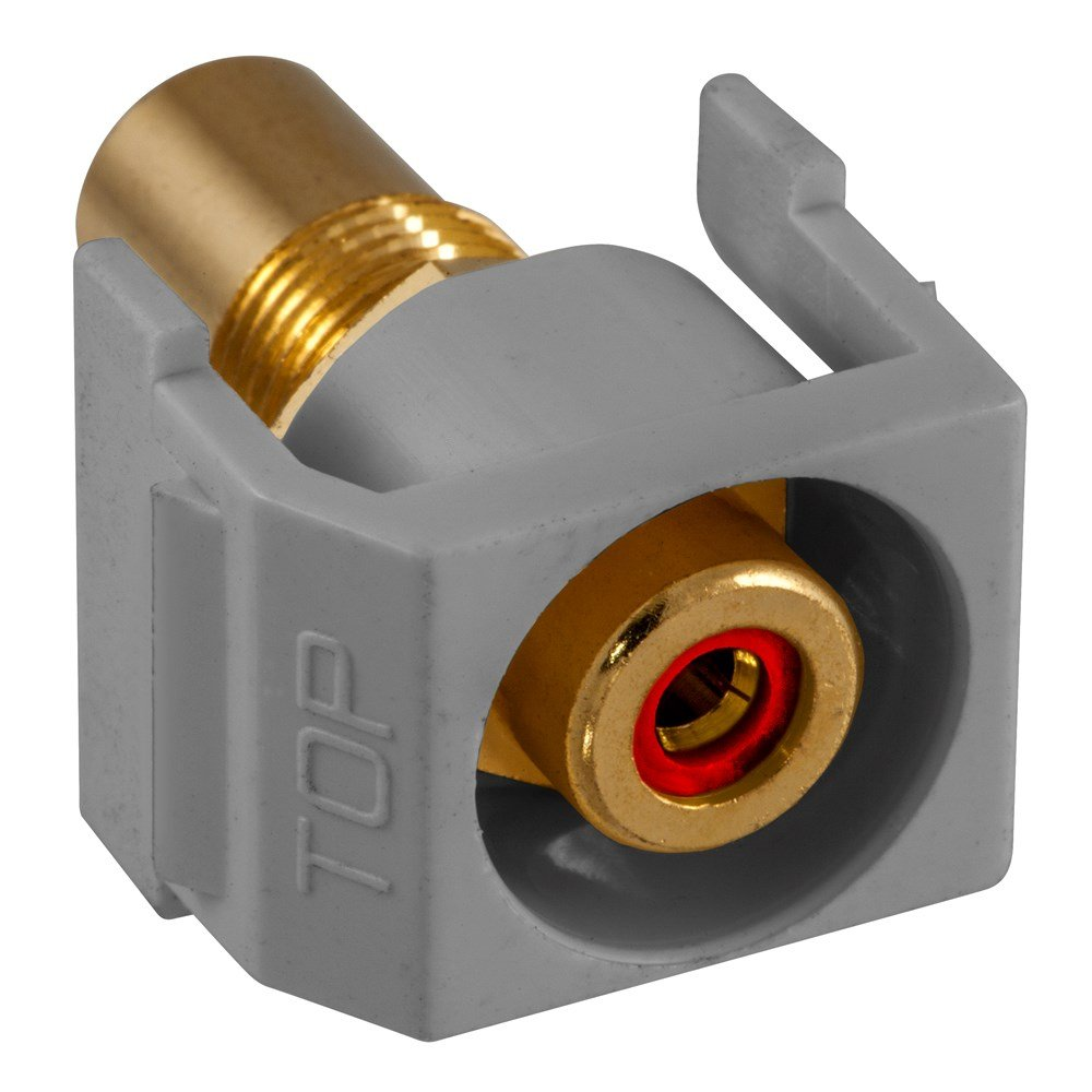 Gray Hubbell Wiring Device-Kellems 386562 Red Insulator Housing Hubbell Wiring Systems SFRCRRGY Recessed RCA Connector