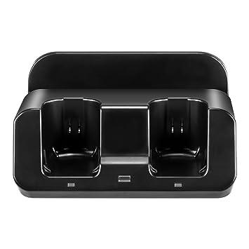 Prous LU05 - Base de Carga 3 en 1 para Nintendo Wii U Gamepad y Mando a Distancia Wii con Dos Baterías de 2800 mAh y Cable de Carga-Negro