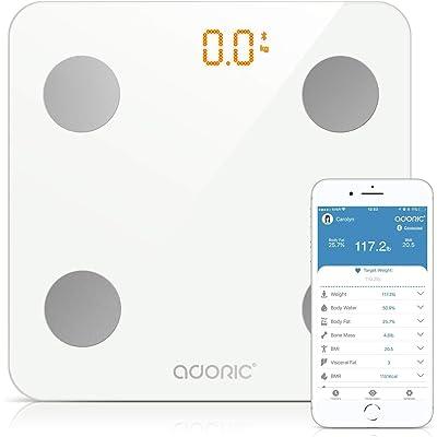 Báscula Grasa Corporal Bluetooth Más de 8 Funciones, Báscula Analógica Monitores de composición corporal Para Móviles Andriod y iOS (Blanco)