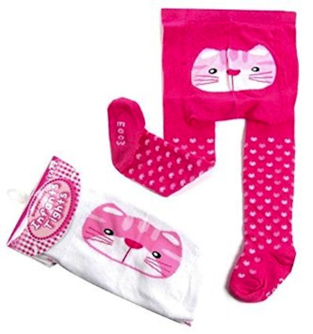 Baby Fun Bum Tights (0-6 Months, Fuchsia Cat) Soft Touch